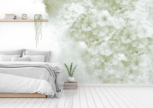 Vintage green floral bedroom wall mural