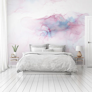 Pink watercolour bedroom wall mural