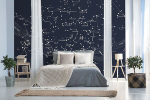 Blue star bedroom wall mural