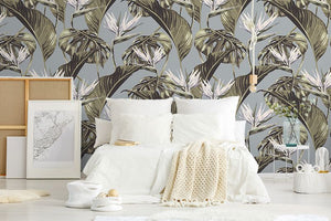 Duck Egg Tropical Leaf bedroom wallpaper