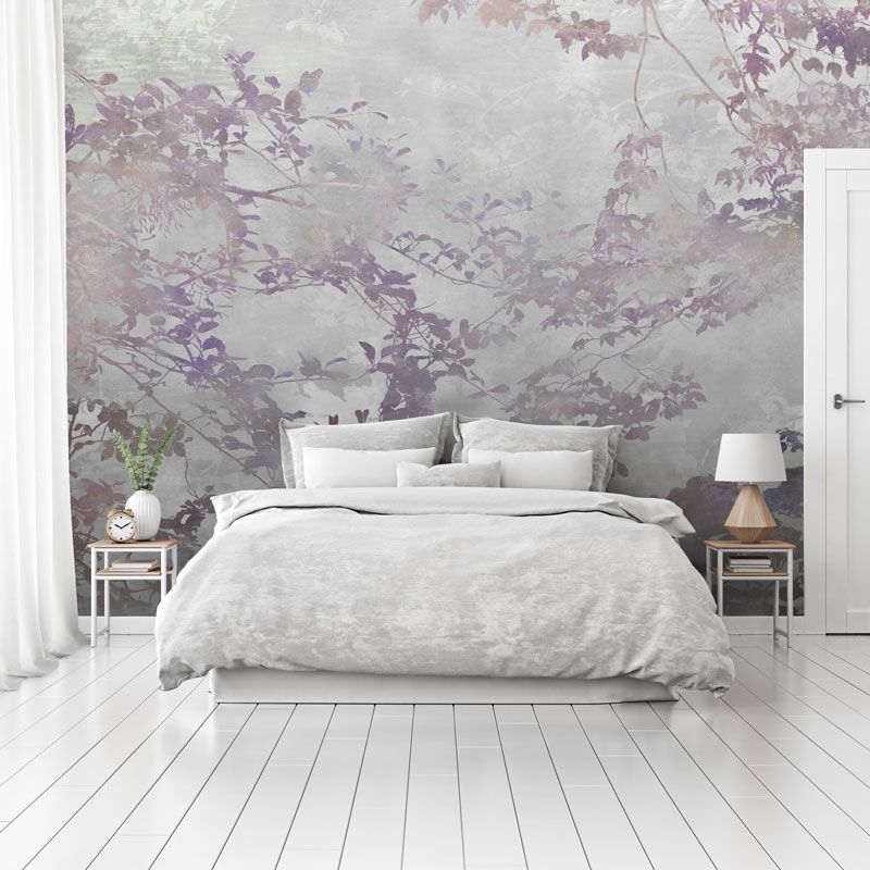 Grey forest bedroom wall mural