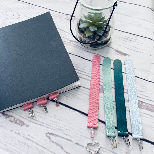 Embossed Pink Leather Journal Tabs