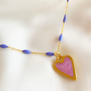 Pink & Lilac - Heart Necklace