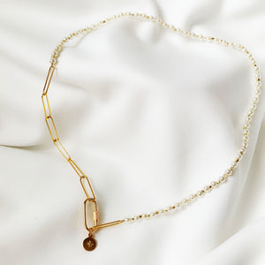 Tia - Pearl & Gold Chain Necklace