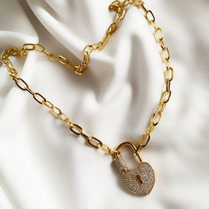 Heart Lock - Golden Necklace