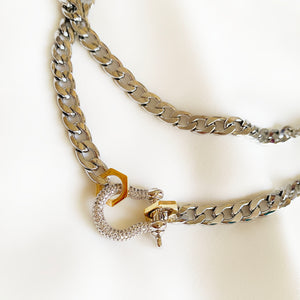 Sparkly Shackle - Long Silvertone Necklace