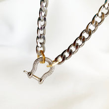 Load image into Gallery viewer, Sparkly Shackle - Long Silvertone Necklace