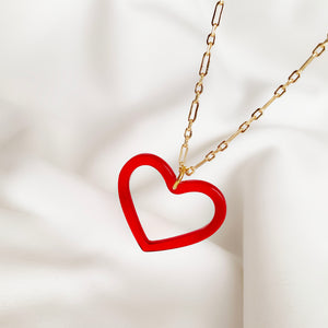 Red Heart - Gold Necklace