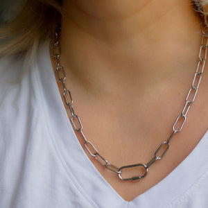 Chunky Paperclip - Silver Tone Necklace