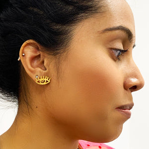 See No Evil - Gold Earrings
