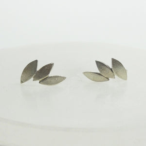 Silver leaf earrings studs