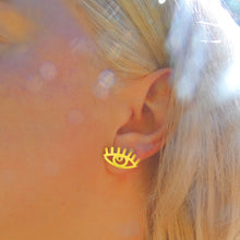 Load image into Gallery viewer, See No Evil - Gold Earrings