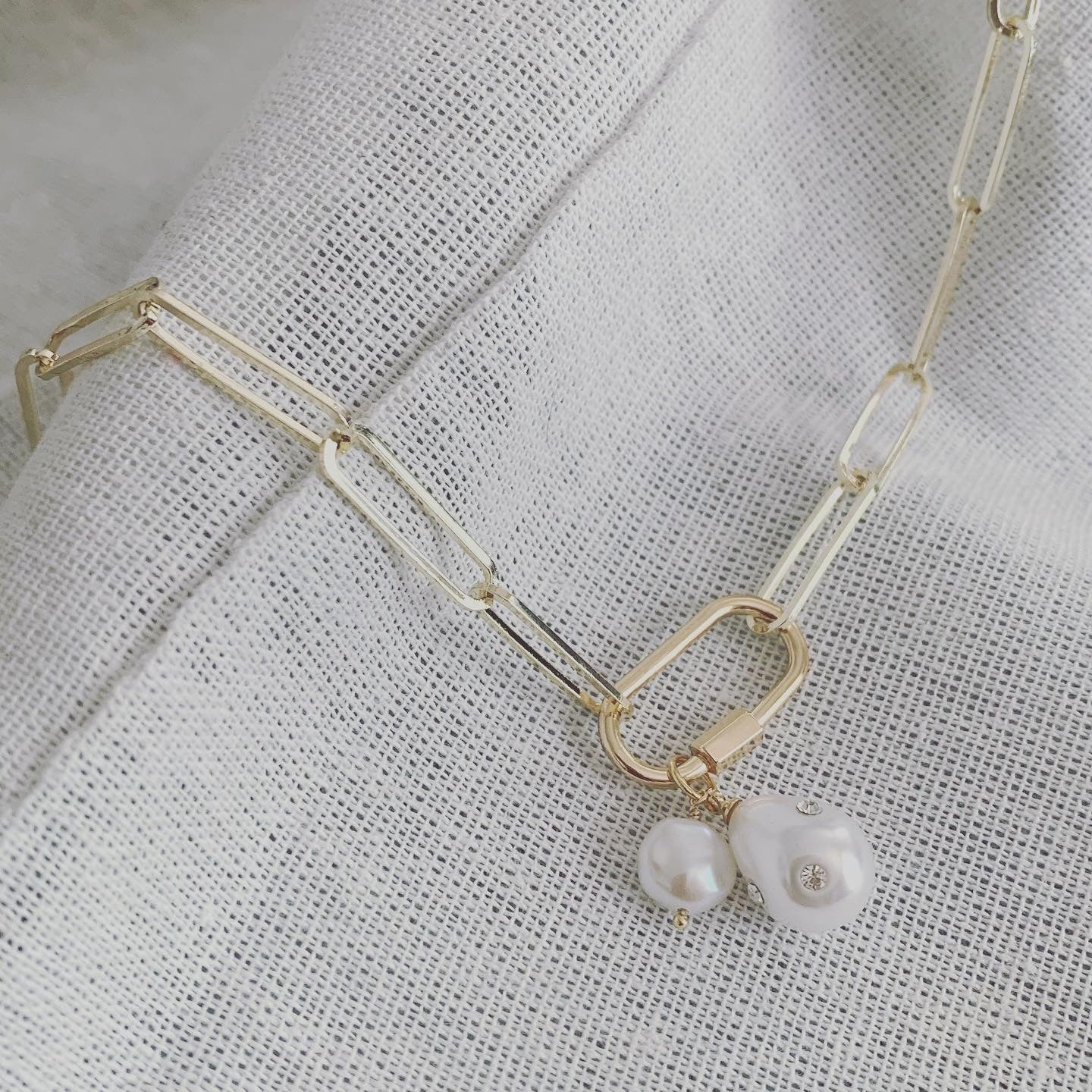 Pearls and Paperclip - Brass Chain