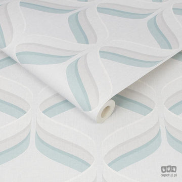 Retro Ogee Wallpaper - Teal & grey