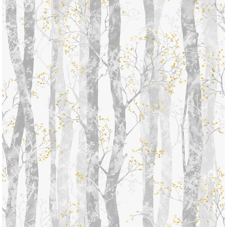 Dappled Trees Wallpaper - Grey & yellow