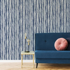 Dappled Trees Wallpaper - Grey & navy