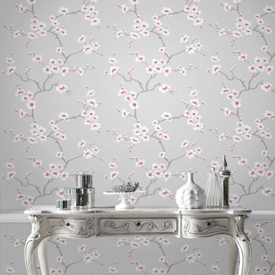 Apple Blossom Wallpaper - Grey & pink