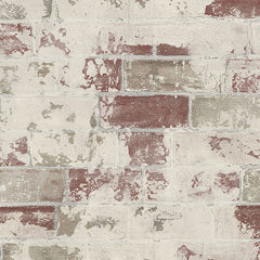 Distressed Brick Red Wallpaper
