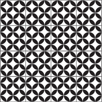 Geometric circles - Black & White Vinyl wall tiles