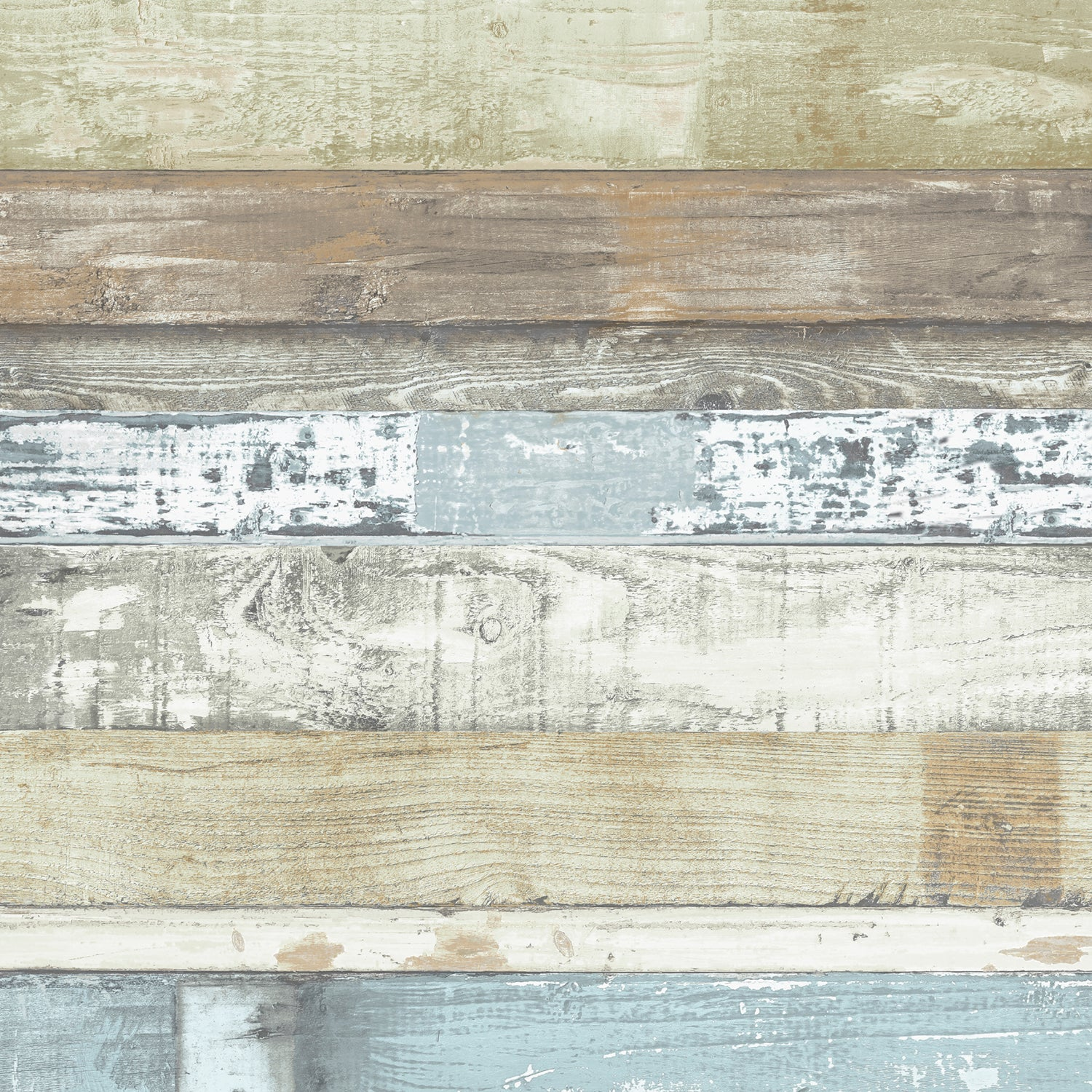 Planks Colourful Blues Wallpaper