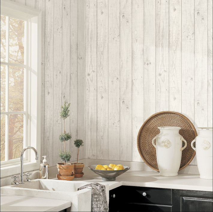 Barn Board Grey Wallpaper