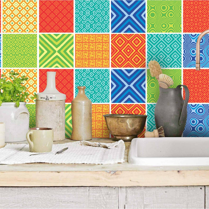 African Mix - Colour vinyl wall tiles