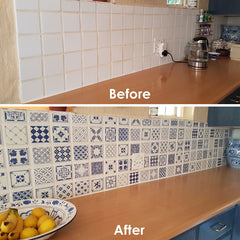 Delft - Antique Blue vinyl wall tiles