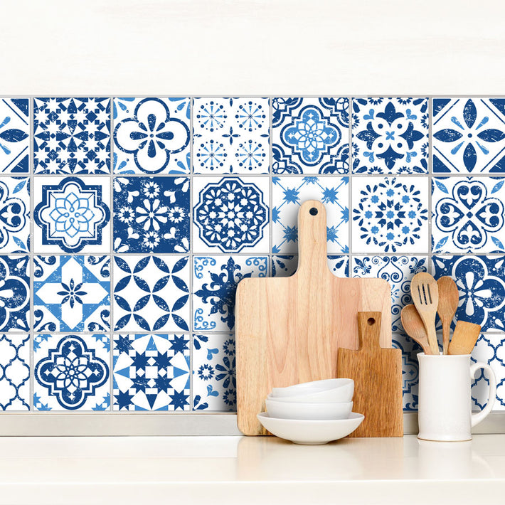 Mediterranean Blue - vinyl wall tiles