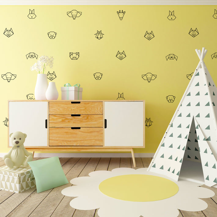 Origami Animal Pattern Vinyl wall stickers