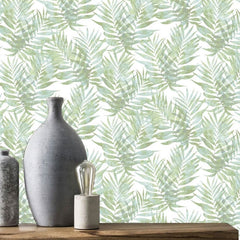 Palm Leaves Light Green Wallpaper
