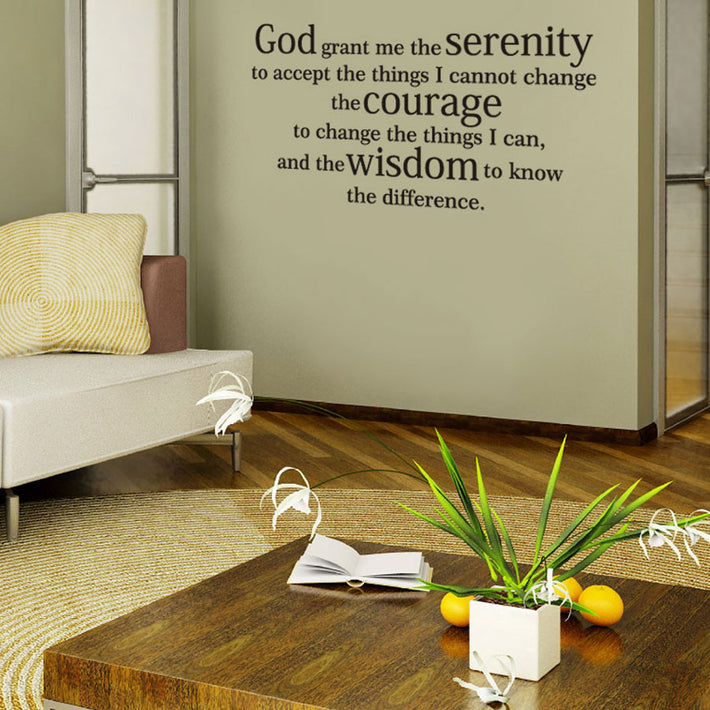 Serenity prayer vinyl wall poetry