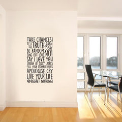 Take chances vinyl wall poetry