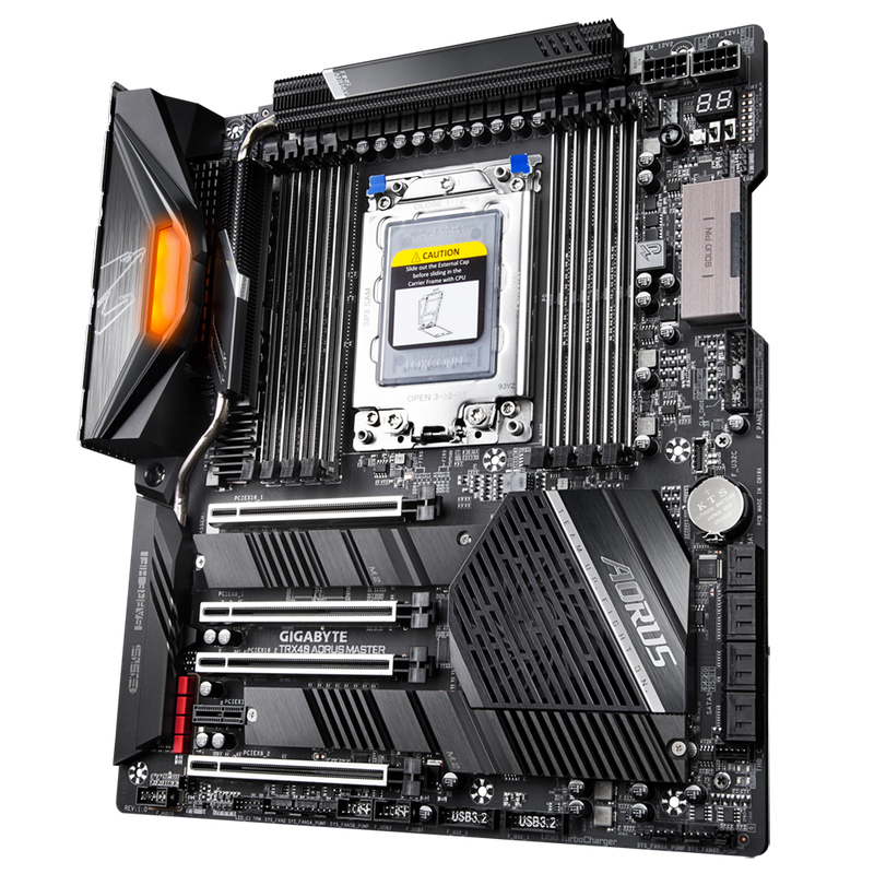 AMD TRX40 AORUS MB w Direct 16+3 Phases Infineon Digital VRM, Fins-Array Heatsink, NanoCarbon Baseplate, 5GbE+1GbE LAN, 3 PCIe 4.0 M.2 w Thermal Guard