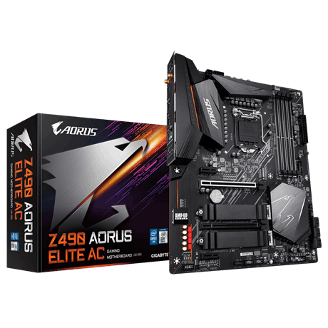 INTEL,Z490 AORUS MB w Direct 12 Phase Digital VRM Design, Comprehensive Thermal Solution w Enlarged Surface Heatsink,Dual Band 802.11ac WIFI, 2.5GbE L