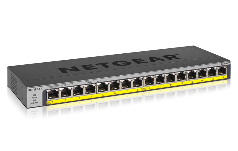 NETGEAR 16-Port PoE/PoE+ Gigabit Ethernet Unmanaged Switch with 76W PoE Budget, Rack-mount or Wall-mount (GS116LP)
