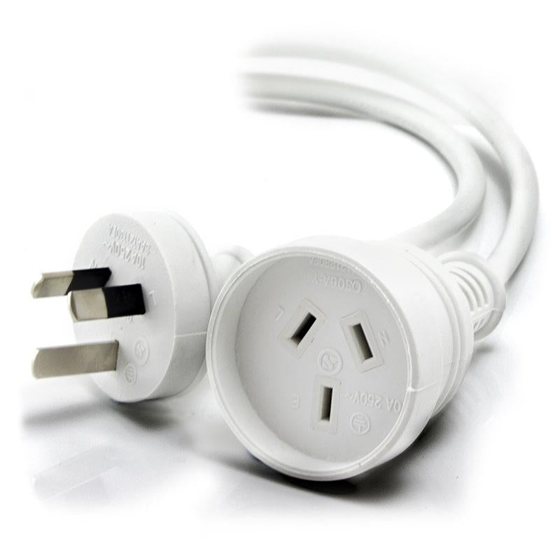 ALOGIC 2m Aus 3 Pin Mains Power Extension Cable WHITE  - Male to Female - MOQ:9