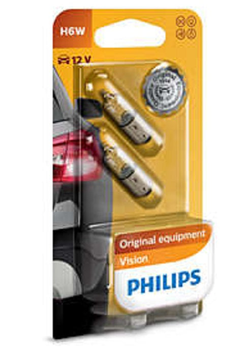 Philips Signal Lamp Bulb H6W 12V 6W Interior Rear Park Reverse Light Twin Pack