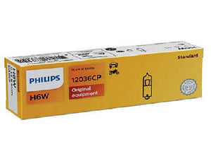 Philips Signal Lamp Bulb H6W 12V 6W Interior Rear Park Reverse Light Pack of 10