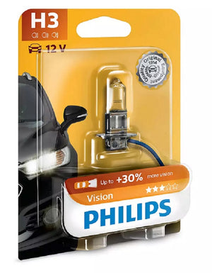 Philips H3 Vision Bulb 30% More Light 10m Extra Precise Beam Globe 1450LM