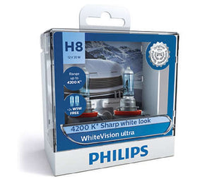Philips H8 WhiteVision Ultra Light Globes 12v 4200K Whitest Road Legal Halogen