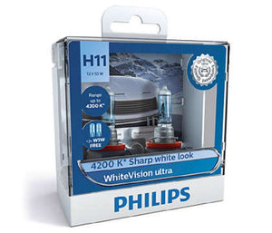 Philips H11 WhiteVision Ultra Light Globes 12v 4200K Whitest Road Legal Halogen