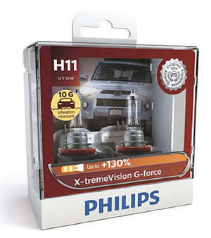 Philips H11 X-tremeVision G-force Headlight Globes 12V 55W 10G* Vibration Resistant