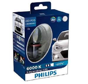 Philips H8 H11 H16 X-treme Ultinon LED LUXEON Fog Light Globe Pair 12v 6000K