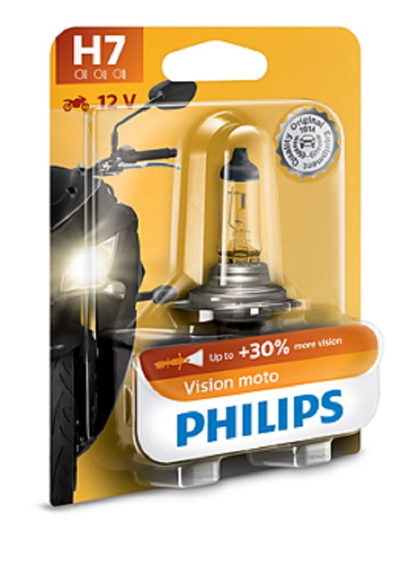 Philips H7 Premium Vision Moto Motorcycle Single Headlight Globe PX26d 12V 55W
