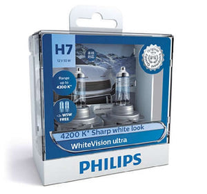 Philips H7 WhiteVision Ultra Light Globes 12v 4200K Whitest Road Legal Halogen