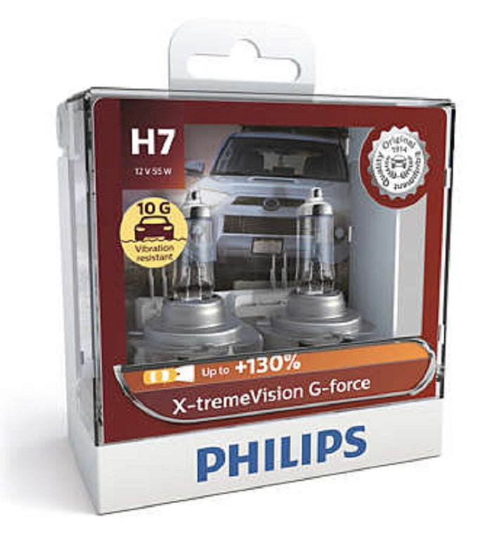 Philips H7 X-tremeVision G-force Headlight Globes 12V 10G* Vibration Resistant
