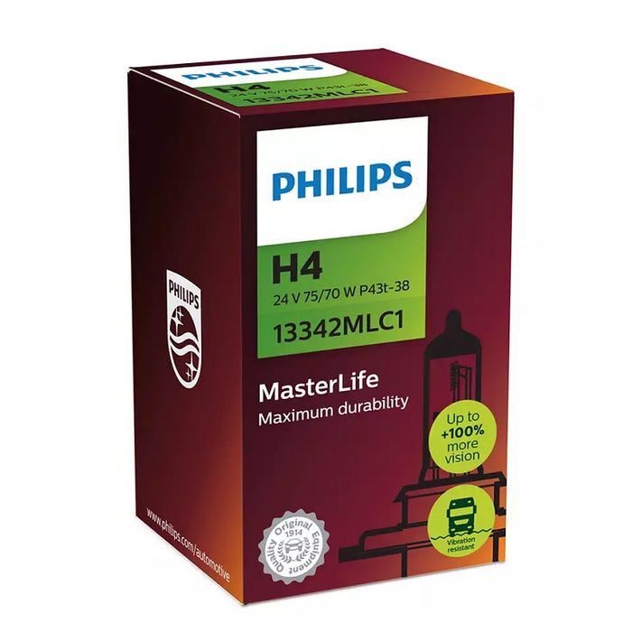 Philips H4 24v MasterLife Truck Globe Last 4 x Longer Robust Vibration Resistant