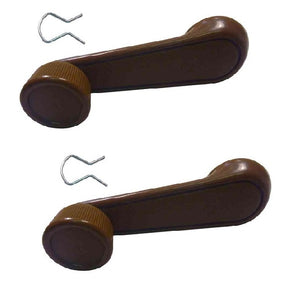 Window Winder Handle Suits Early Toyota Landcruiser & Hilux with Clip - Brown PAIR