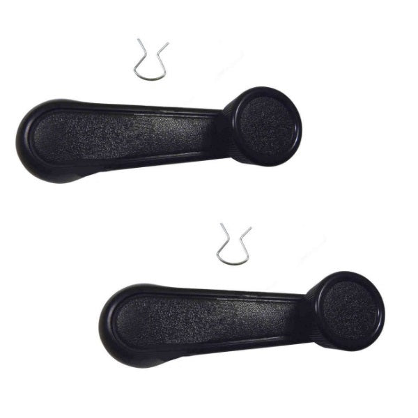 Window Winder Handle Suits Early Toyota Landcruiser & Hilux with Clip - Black PAIR