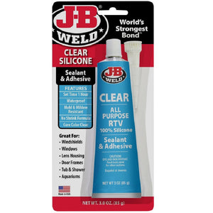 JB Weld Clear Silicone Sealant Adhesive RTV No Shrink Mould Resistant